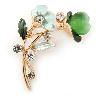 Mint/ Green Crystal Calla Lily With Cat's Eye Stone Floral Brooch In Gold Tone - 48mm L - main view