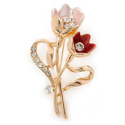 Pink/ Coral Crystal Tulip Brooch In Gold Tone - 55mm L - main view