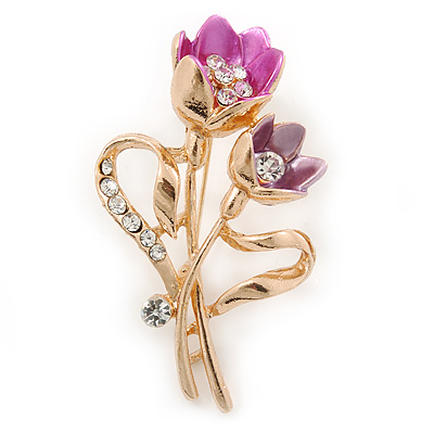 Fuchsia/ Pink Crystal Tulip Brooch In Gold Tone - 55mm L