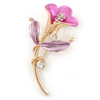 Deep Pink/ Lilac Enamel, Crystal Calla Lily Brooch In Gold Plating - 53mm L - main view