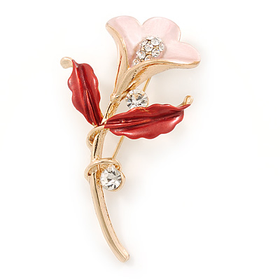 Pink/ Coral Enamel, Crystal Calla Lily Brooch In Gold Plating - 53mm L - main view