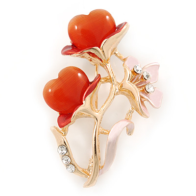 Pink Enamel, Crystal With Coral Glass Stones Floral Brooch In Gold Plating - 45mm L - main view