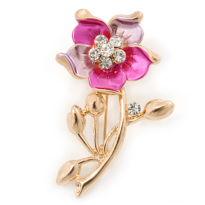 Pink/ Fuchsia Enamel, Crystal Daisy Brooch In Gold Plating - 50mm L