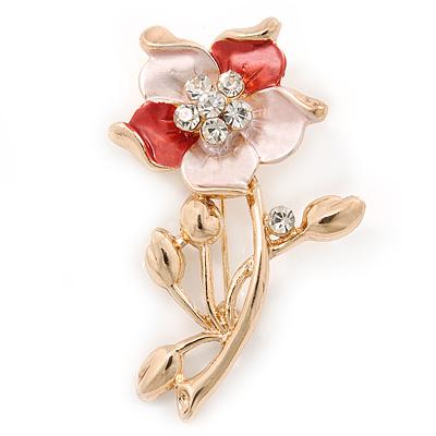 Coral/ Magnolia Enamel, Crystal Daisy Brooch In Gold Plating - 50mm L