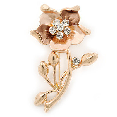 Magnolia/ Bronze Green Enamel, Crystal Daisy Brooch In Gold Plating - 50mm L