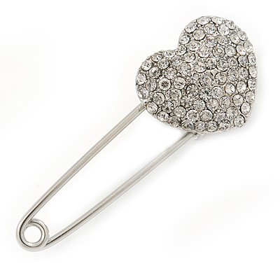 Clear Austrian Crystal Heart Safety Pin Brooch In Rhodium Plating - 55mm L - main view