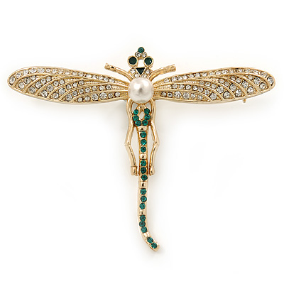 Clear, Green Austrian Crystal, Pearl Dragonfly Brooch In Gold Plating - 70mm Across