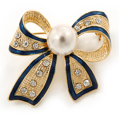 Gold Tone, Navy Blue Enamel, Crystal, Pearl Bow Brooch - 40mm L