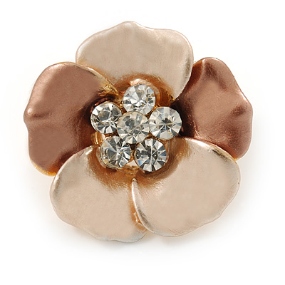 Small Bronze/ Magnolia Enamel, Crystal Daisy Pin Brooch In Gold Tone - 20mm