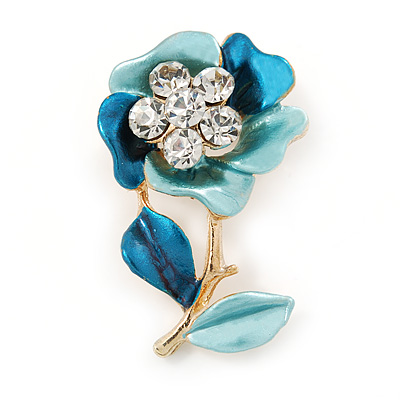 Teal/ Light Blue Enamel, Crystal Flower Brooch In Gold Tone - 30mm