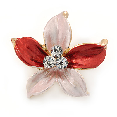 Small Pink/ Coral Enamel, Clear Crystal Flower Brooch In Gold Tone - 27mm