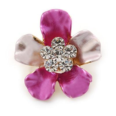 Fuchsia/ Pink Enamel Clear Crystal Flower Brooch In Gold Tone - 20mm
