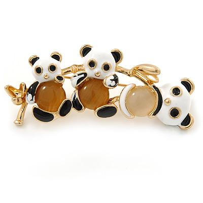 Black/ White Enamel Three Panda Brooch In Gold Plating - 50mm L