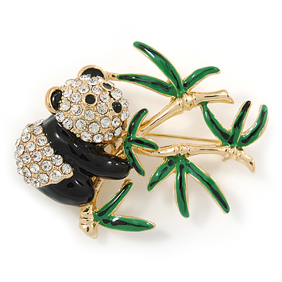 Gold Plated Clear/ Black Crystal Frog Brooch - 50mm L