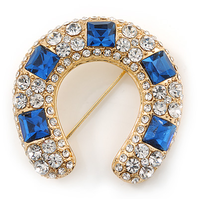 Clear And Blue Crystal Horseshoe Brooch In Gold Plating - 35mm