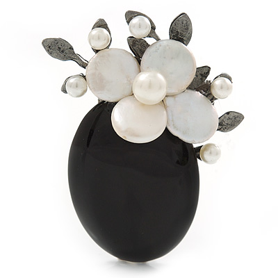 Handmade Black Oval Resin with Mother Of Pearl Floral Detailing Brooch/ Pendant In Pewter Tone - 60mm L