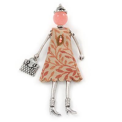 Pink/ Beige Doll Brooch In Silver Tone Metal - 95mm L
