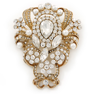 Vintage Inspired Bridal/ Wedding Clear Austrian Crystal, White Glass Pearl Corsage Brooch In Gold Tone - 65mm L