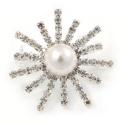 Small Clear Crystal, White Glass Pearl Snowflake Brooch In Rhodium Plating - 28mm D
