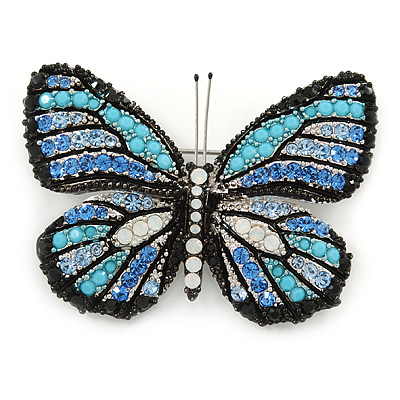 Black/ Sky Blue/ Violet Blue/ Milky White Austrian Crystal Butterfly Brooch In Silver Tone - 50mm W - main view