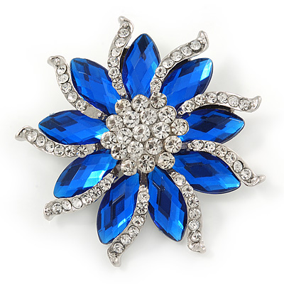 Sapphire Blue/ Clear Crystal Flower Corsage Brooch In Silver Tone - 55mm D
