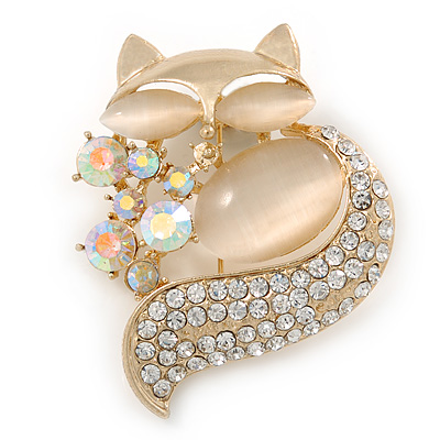 Avalaya Gold Plated Clear/Blue Crystal with Cat Eye Stone Owl Brooch - 35mm L Xp7SYzLU