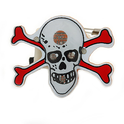 Flashing LED Blue and Red Lights Halloween Skull and Crossbones Brooch