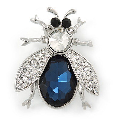 Clear/ Blue Crystal Fly Brooch In Rhodium Plated Metal - 35mm L