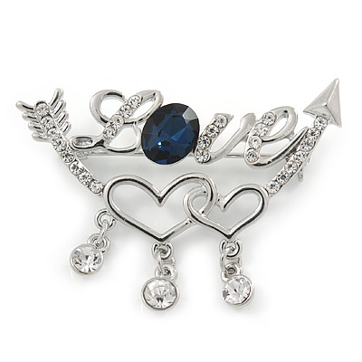 Clear Crystal, Blue CZ 'Love' Brooch In Rhodium Plated Metal - 50mm Across - main view