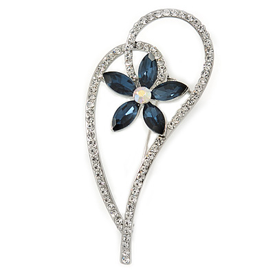 Open Asymmetrical Heart with Blue CZ Flower Brooch In Rhodium Plating - 65mm Across - main view