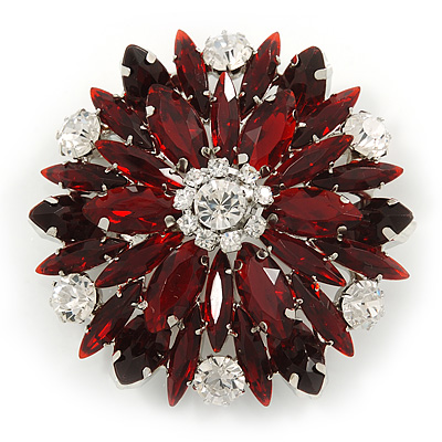 Burgundy Red/ Clear Acrylic Bead Corsage Flower Brooch In Silver Tone - 55mm Across