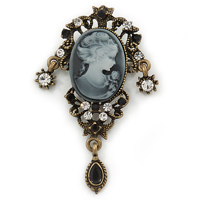 Vintage Inspired Classic Cameo with Charms Brooch In Bronze Tone - 60mm Across - main view