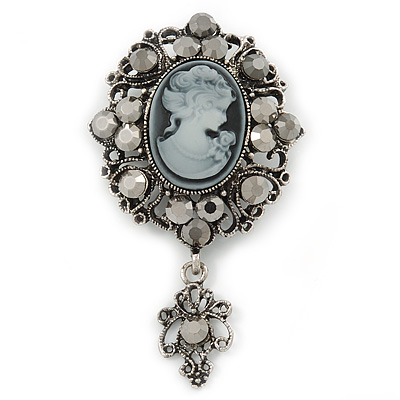 Vintage Inspired Hematite Crystal Cameo with Charm Brooch In Antique Silver Tone - 65mm L - main view