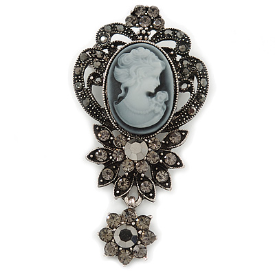 Vintage Inspired Dark Grey/ Hematite Crystal Cameo with Charm Brooch In Antique Silver Tone - 65mm L - main view