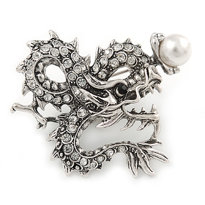 Clear Crystal Dragon with Pearl Brooch In Silver Tone - 50mm
