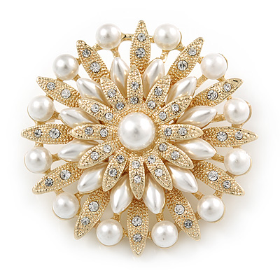 Bridal Vintage Inspired White Simulated Pearl, Austrian Crystal Layered Floral Brooch In Gold Tone - 50mm D