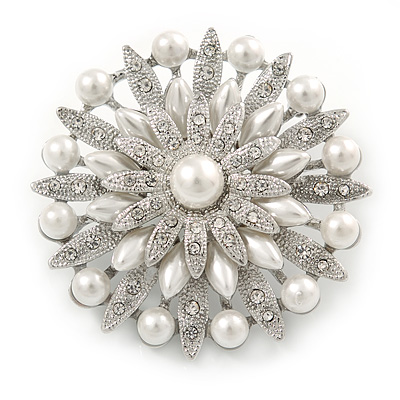 Bridal Vintage Inspired White Simulated Pearl, Austrian Crystal Layered Floral Brooch In Silver Tone - 50mm D