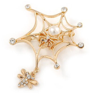 Gold Plated Clear Crystal Pearl Spider, Web and Fly Brooch - 60mm L