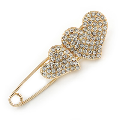 Gold Plated, Clear Crystal Double Heart Safety Pin Brooch - 70mm L - main view