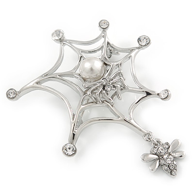 Rhodium Plated Clear Crystal Pearl Spider, Web and Fly Brooch - 60mm L