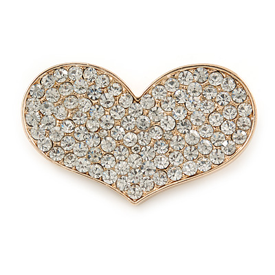 Gold Plated Pave Set Clear Crystal Heart Brooch - 47mm - main view