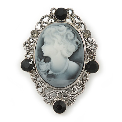 Vintage Inspired Crystal 'Lady' Grey Cameo Brooch/Pendant In Antique Silver Tone - 50mm L - main view