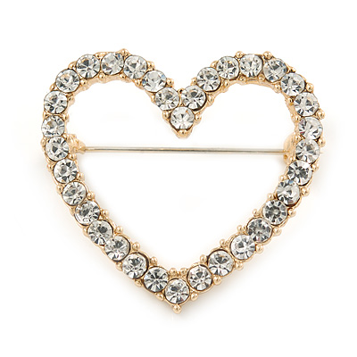 Gold Plated Clear Crystal Open Heart Brooch - 35mm - main view
