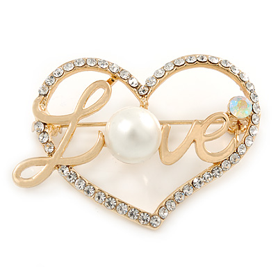 Gold Plated Clear Crystal, Pearl, Love Open Heart Brooch - 40mm - main view