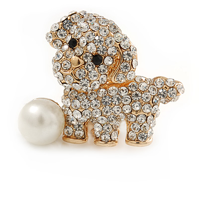 Cute Crystal Puppy Dog with Pearl Ball Brooch - 30mm
