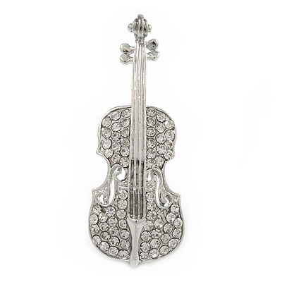 Silver Tone Clear Crystal Violin Musical Instrument Brooch - 50mm