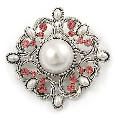 Vintage Bridal Corsage Simulated Pearl Pink Crystal Brooch In Silver Tone Metal - 50mm D - main view