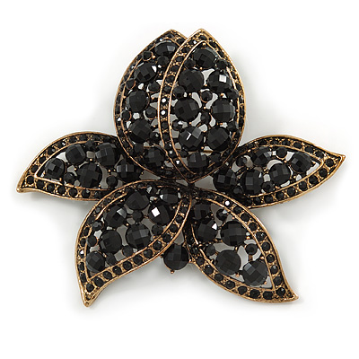 Large Black Diamante Floral Brooch/ Pendant In Bronze Tone Metal - 90mm - main view