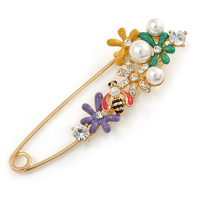Multicoloured Enamel Flowers, Bee, Simulated Pearls Safety Pin Brooch In Gold Tone - 80mm L - main view
