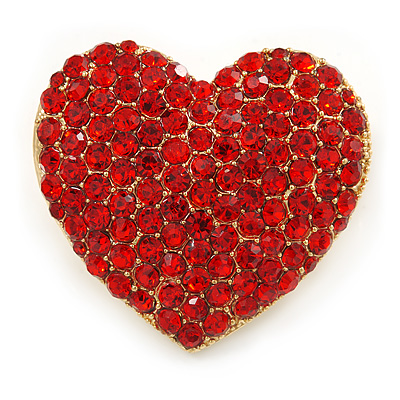 Pink Austrian Crystal Pave Set Heart Brooch In Bright Gold Tone Metal - 35mm L - main view